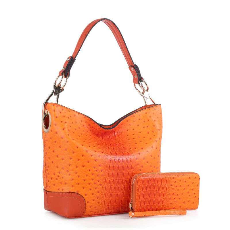 MKF Collection Wandy Hobo Sac à main et portefeuille assorti-Orange-Daily Steals