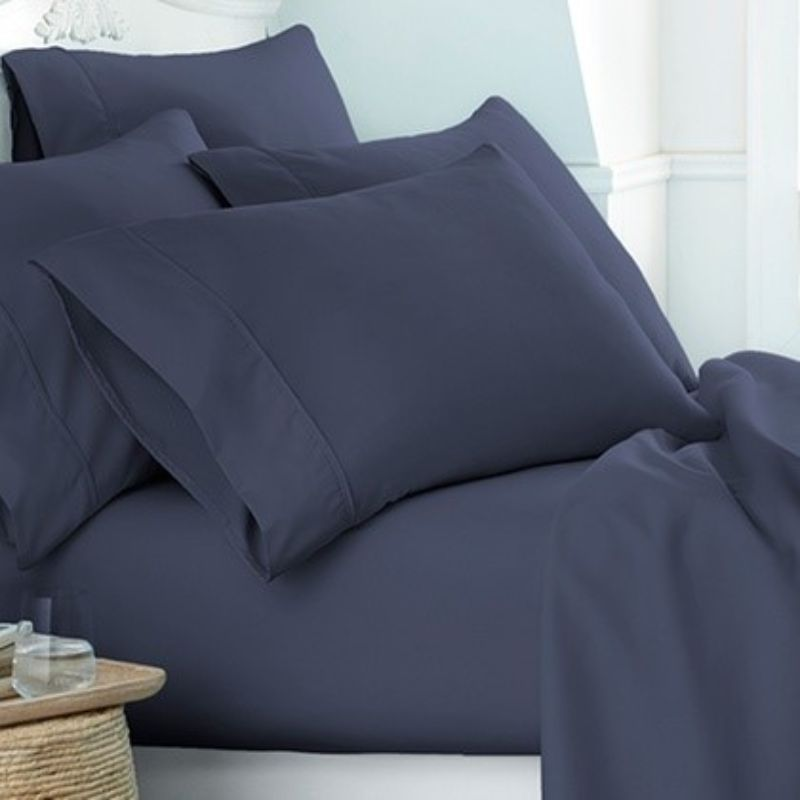 Microfiber Merit Linens Bed Sheets Sets - 6 Piece-Navy-Twin-Daily Steals