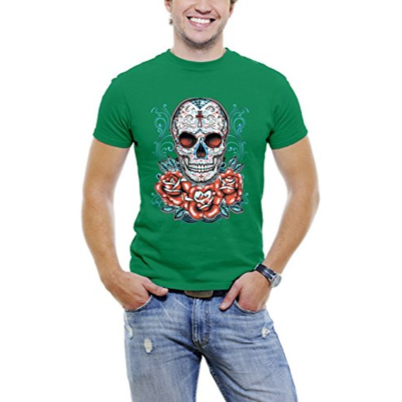 Skull Roses Tattoo - Men's T-Shirt-Green-3XL-Daily Steals