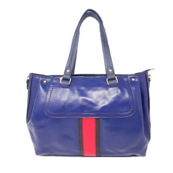 Vintage Striped Leather Tote Handbag-Navy-Daily Steals