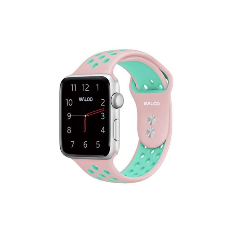 Waloo Breathable Sports Band For Apple Watch Series 1-5-Pink/Blue-42/44mm-Daily Steals