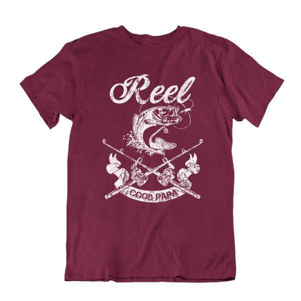 Reel Cool Tee de pêche drôle Papa 'Shirt-Maroon-Small-Daily Steals