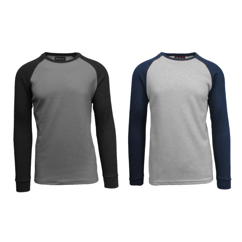Men's Raglan Thermal Shirt - 2 Pack-Charcoal/Black & Heather Grey/Navy-2X-Large-Daily Steals