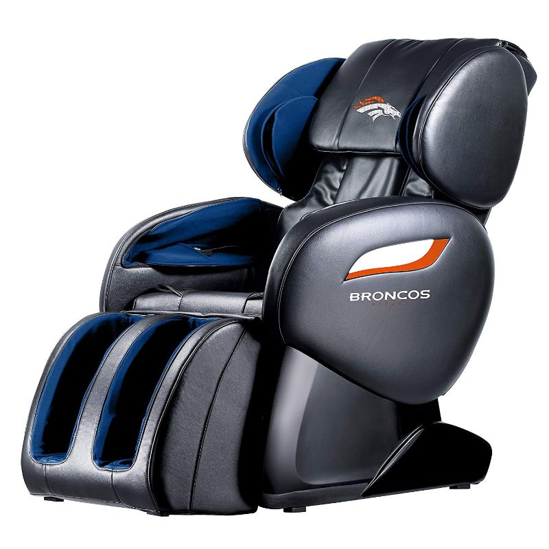 NFL Electric Full Body Shiatsu Massage Chair with Foot Roller-Denver Broncos-Daily Steals