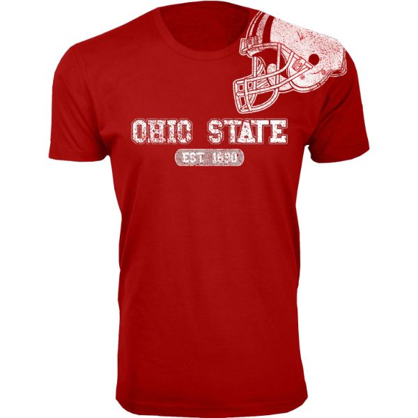 Men's Awesome College Football Helmet T-Shirts-S-Ohio State - Red-Daily Steals