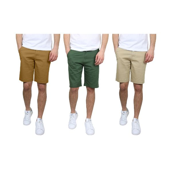 Short chino extensible à 5 poches à devant plat pour homme - Paquet de 3-Timber & Olive & Khaki-30-Daily Steals