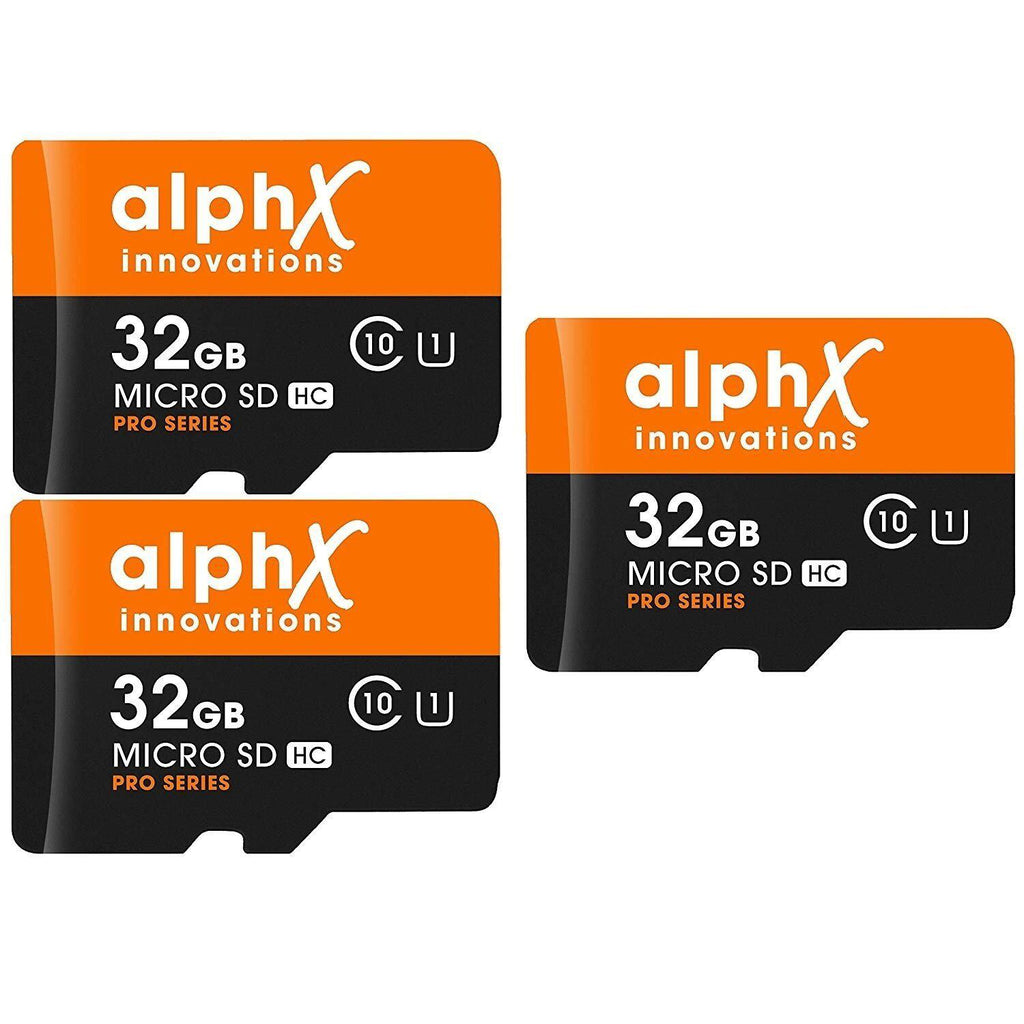 AlphX 32GB Micro SD Cards + Bonus Adapter & USB Card Reader - 3 Pack-Daily Steals