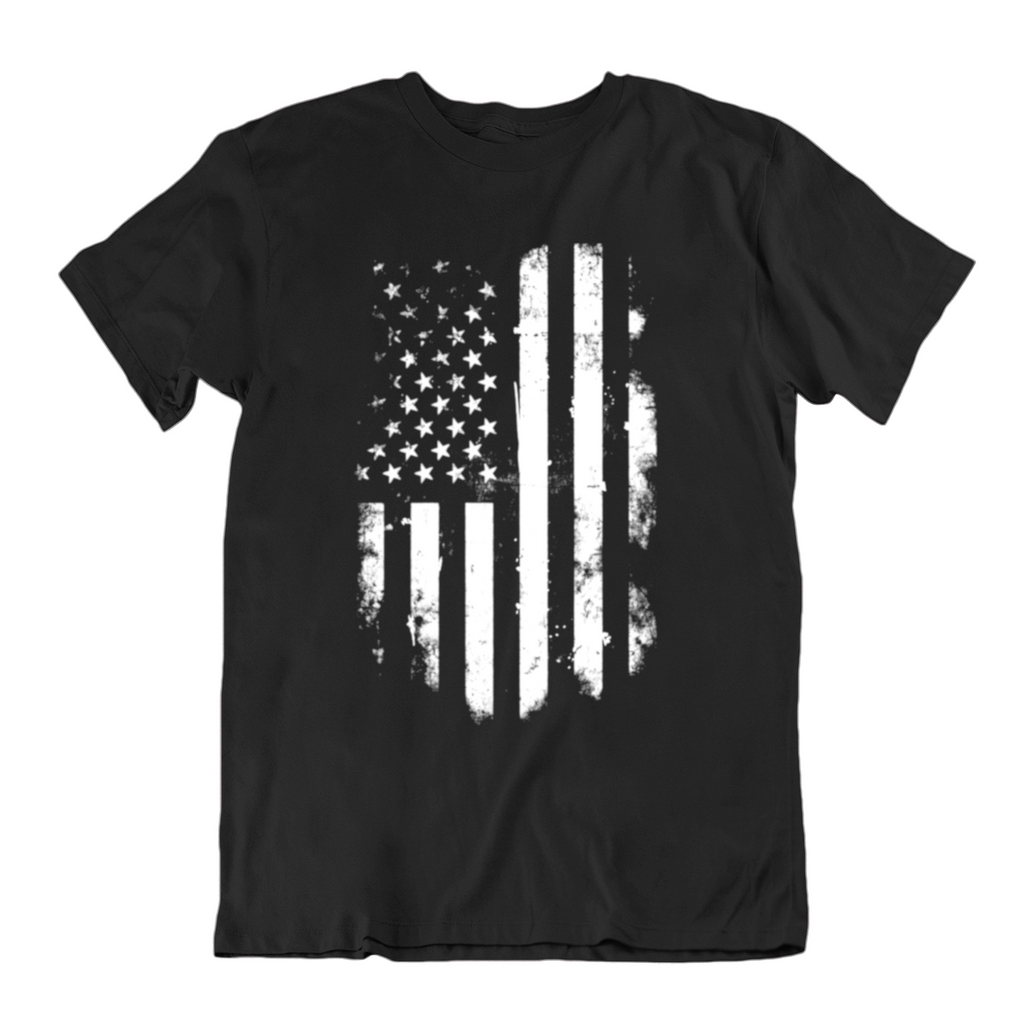 Vintage Distressed USA Flag T Shirt-Black-Small-Daily Steals