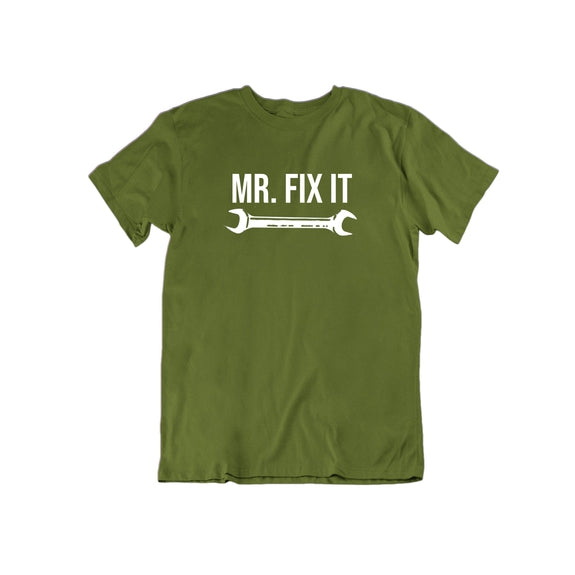 Mr. Fix It Funny Dad Grandfather Father's Day T Shirt-Military Green-Small-Daily Steals