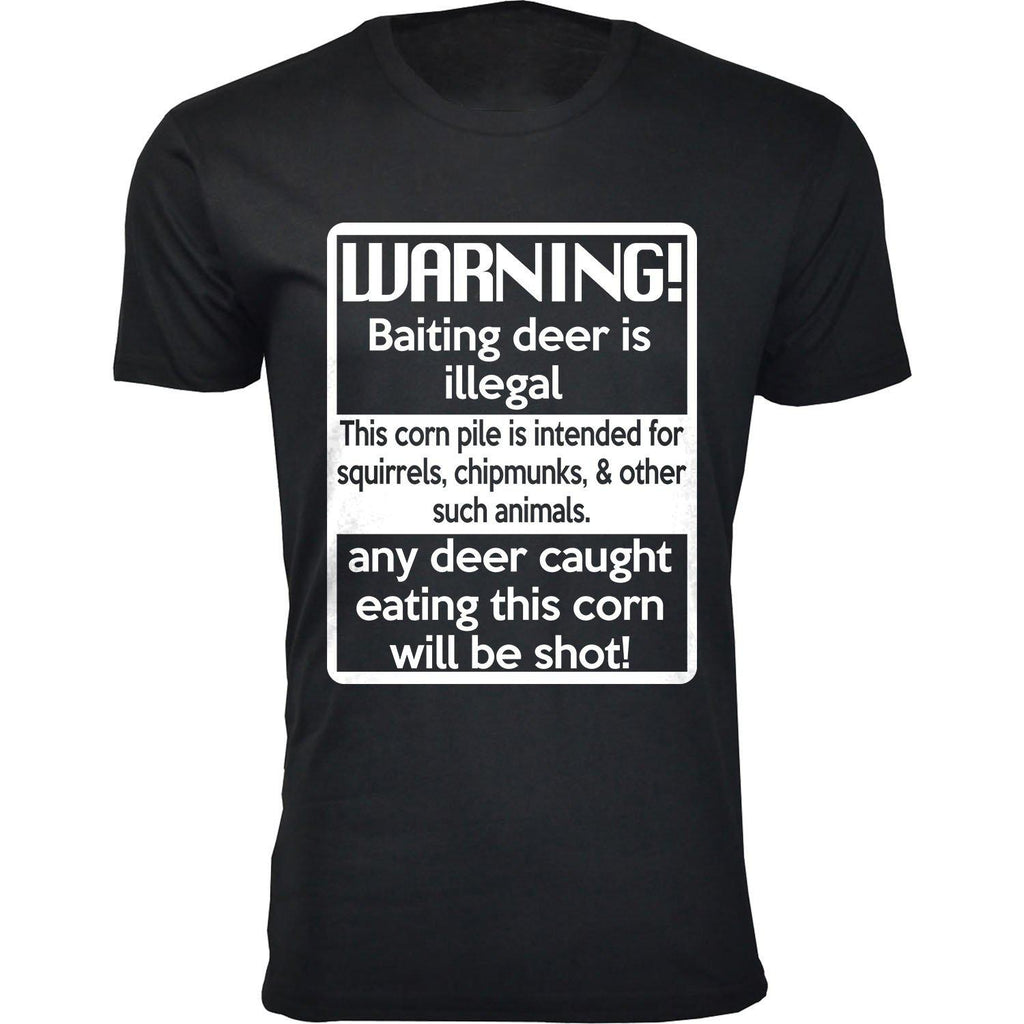 Daily Steals-Men's Deer Hunting Humor T-shirts-Men's Apparel-Warning! Baiting deer is illegal - Black-S-
