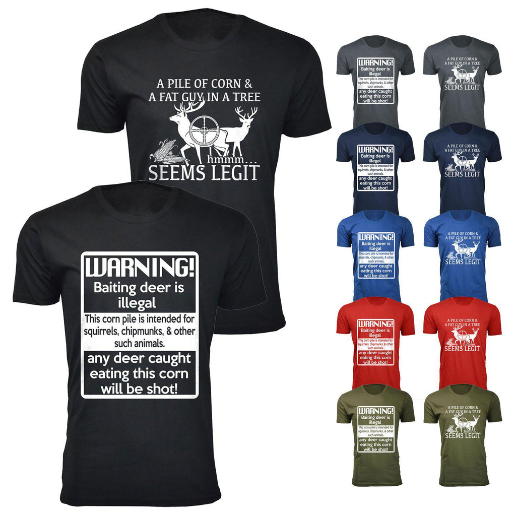 Daily Steals-Men's Deer Hunting Humor T-shirts-Men's Apparel-Warning! Baiting deer is illegal - Charcoal-L-