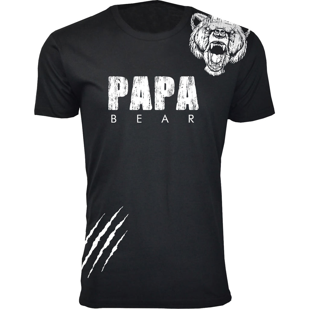 Daily Steals-Men's Best Father's Day Ever T-shirts-Men's Apparel-Papa Bear Scratch - Black-S-