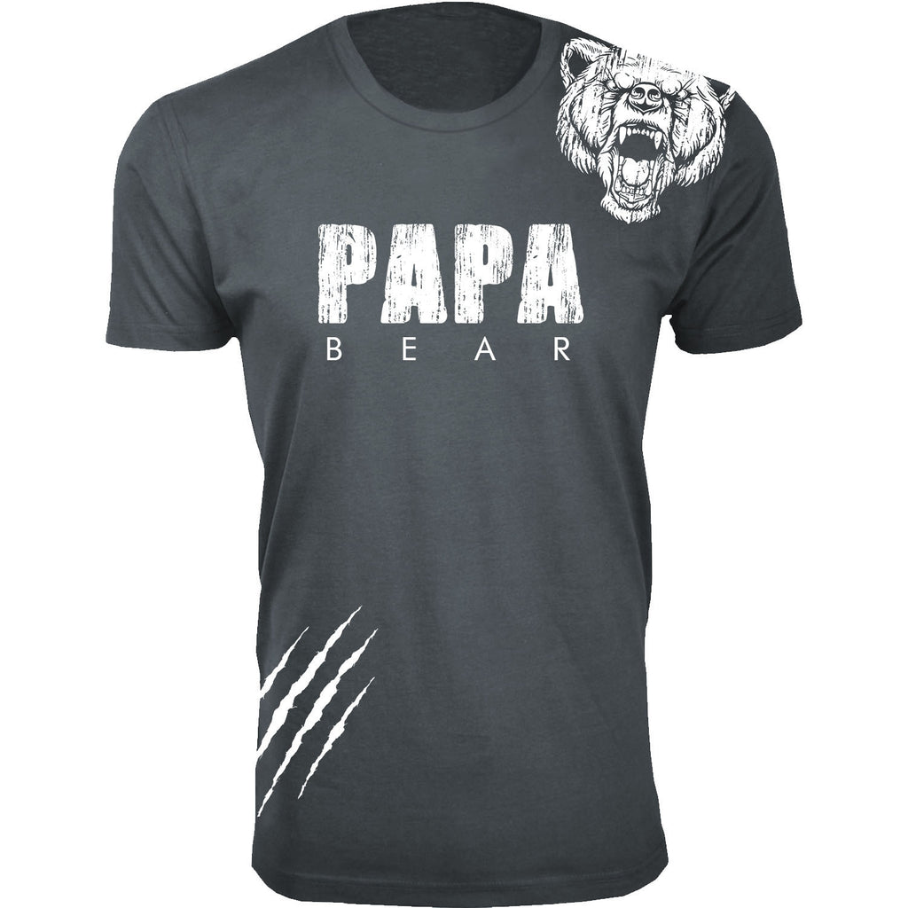 Daily Steals-Men's Best Father's Day Ever T-shirts-Men's Apparel-Papa Bear Scratch - Charcoal-L-