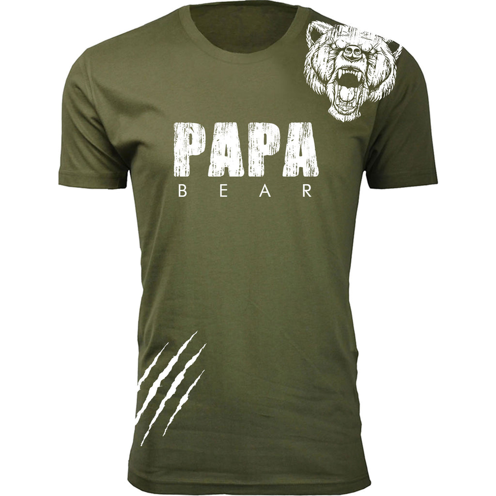 Daily Steals-Men's Best Father's Day Ever T-shirts-Men's Apparel-Papa Bear Scratch - Military Green-S-