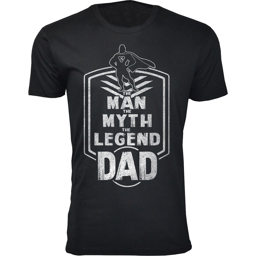 Daily Steals-Men's Best Father's Day Ever T-shirts-Men's Apparel-The Man The Myth The Legend Dad Badge - Black-S-