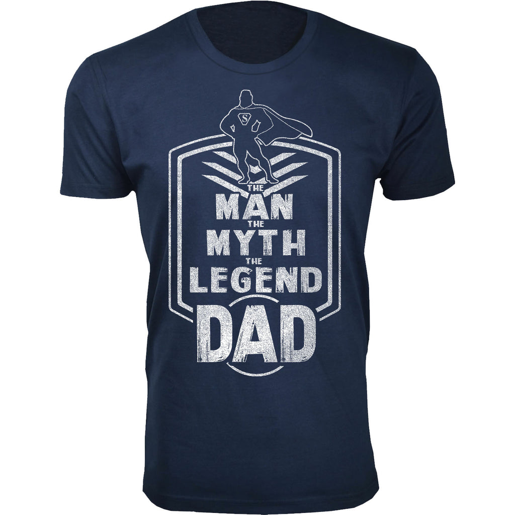 Daily Steals-Men's Best Father's Day Ever T-shirts-Men's Apparel-The Man The Myth The Legend Dad Badge - Navy-S-