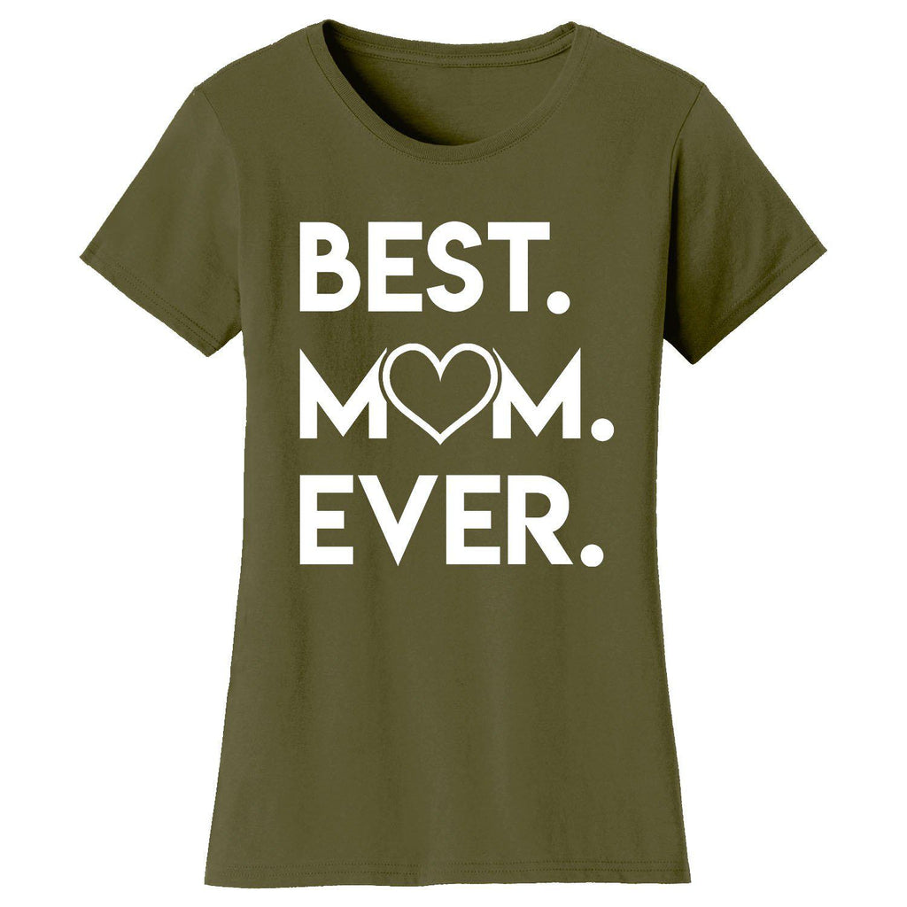 Daily Steals-Women's Best Mom Ever Heart T-shirts-Women's Apparel-Military Green-Small-