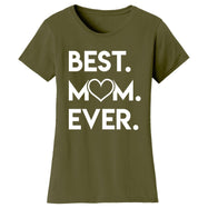 T-shirts femme Best Mom Ever Heart-Vert militaire-Small-Daily Steals