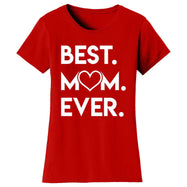 T-shirts pour femmes Best Mom Ever Heart-Rouge-Small-Daily Steals