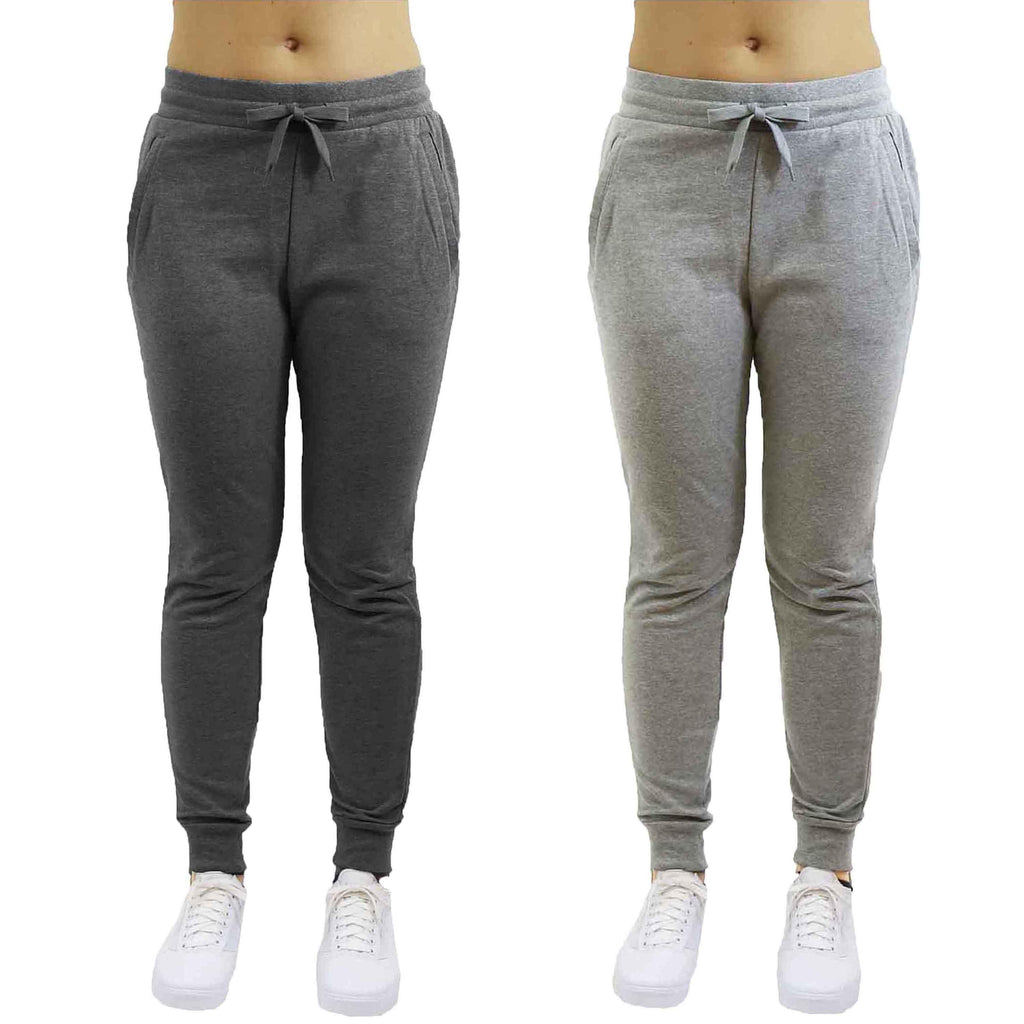Women's French Terry Jogger Pants - 2 Pack-Black & Light Grey-Small-Daily Steals