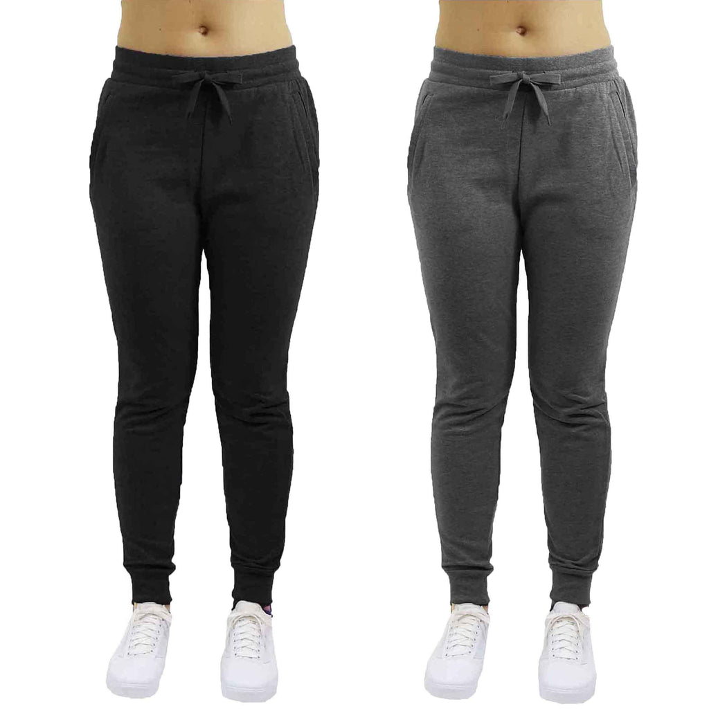 Women's French Terry Jogger Pants - 2 Pack-Black & Dark Grey-Small-Daily Steals