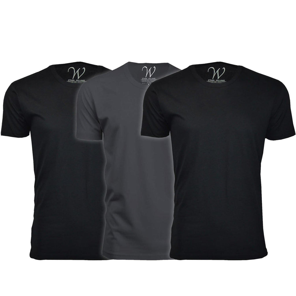 Men's Ethan Williams 3-Pack Sueded Crew Neck T-shirts-Black + Black + Heavy Metal-M-Daily Steals