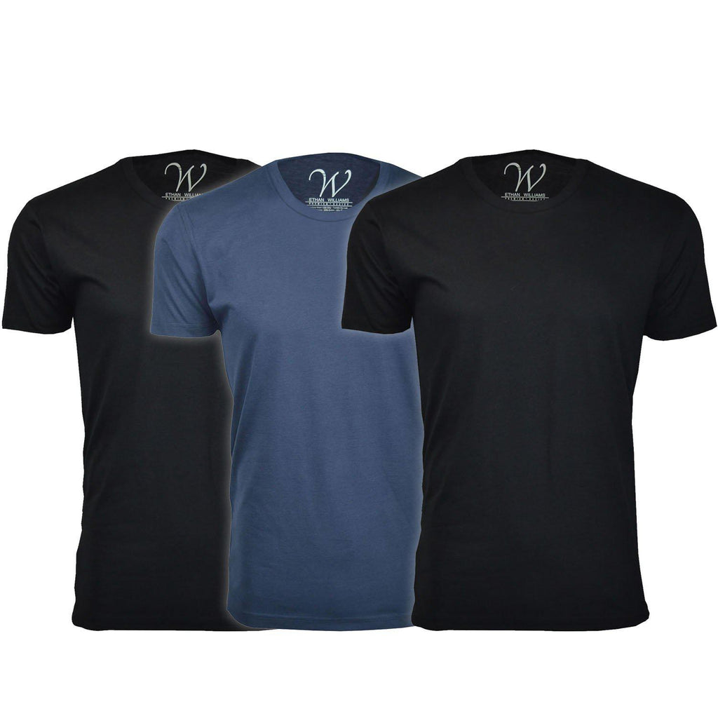 Daily Steals-Men's Ethan Williams 3-Pack Sueded Crew Neck T-shirts-Men's Apparel-Black + Black + Navy-M-