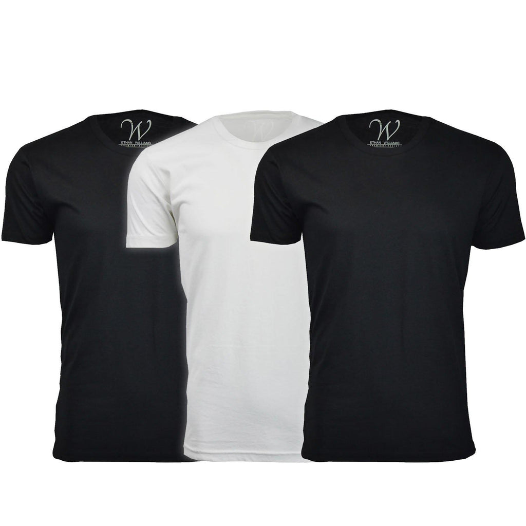Daily Steals-Men's Ethan Williams 3-Pack Sueded Crew Neck T-shirts-Men's Apparel-Black + Black + White-S-