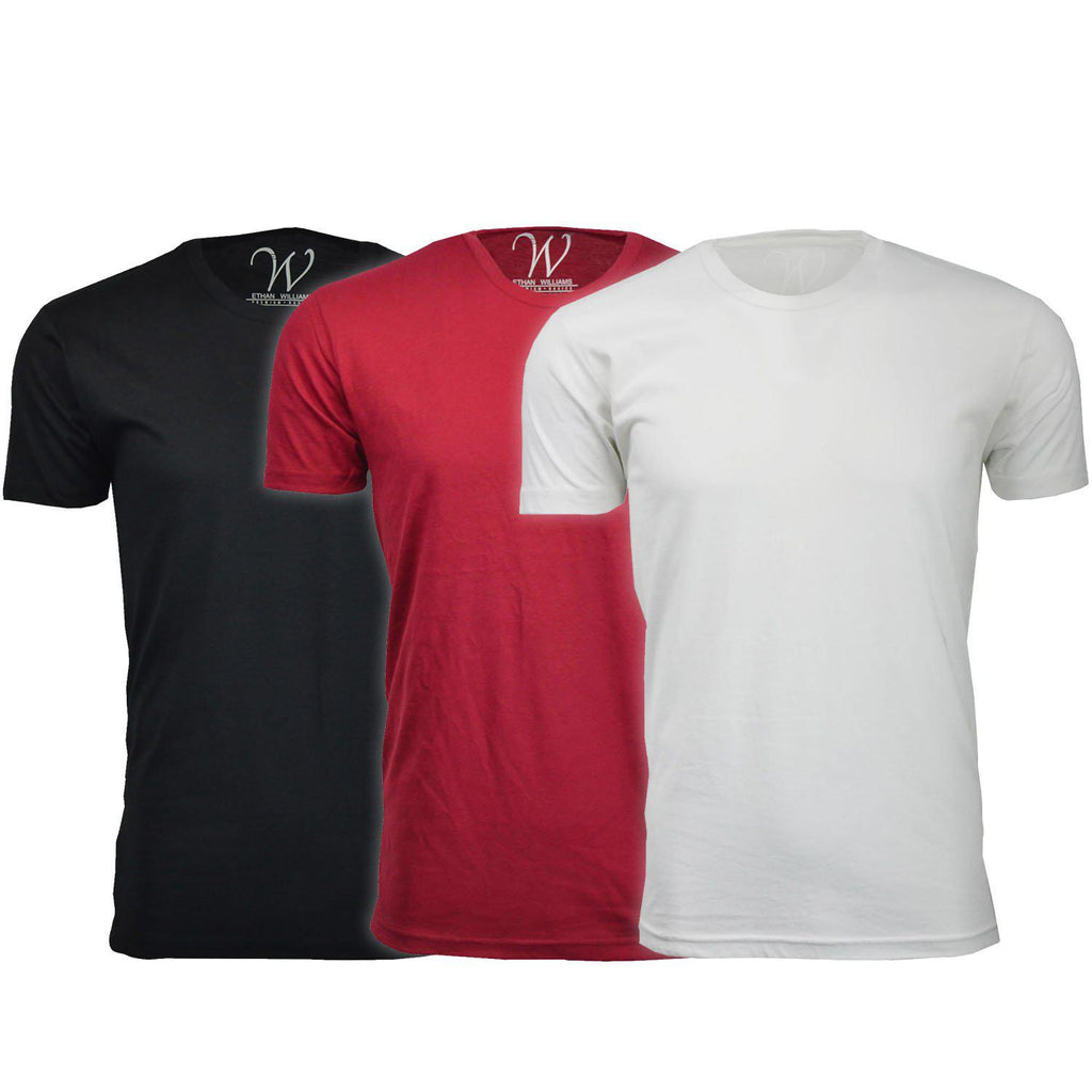 Men's Ethan Williams 3-Pack Sueded Crew Neck T-shirts-Black + Burgundy + White-S-Daily Steals