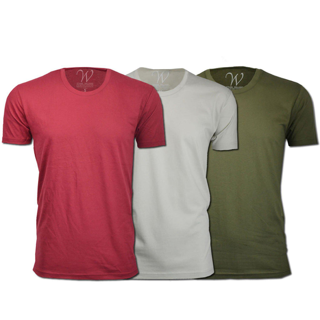Men's Ethan Williams 3-Pack Sueded Crew Neck T-shirts-Burgundy + Military Green + Sand-S-Daily Steals