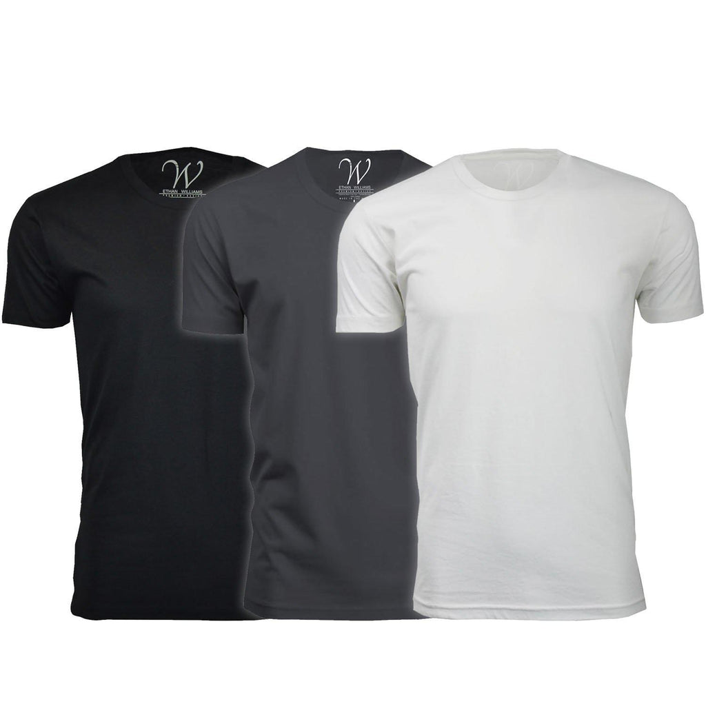 Men's Ethan Williams 3-Pack Sueded Crew Neck T-shirts-Black + Heavy Metal + White-S-Daily Steals