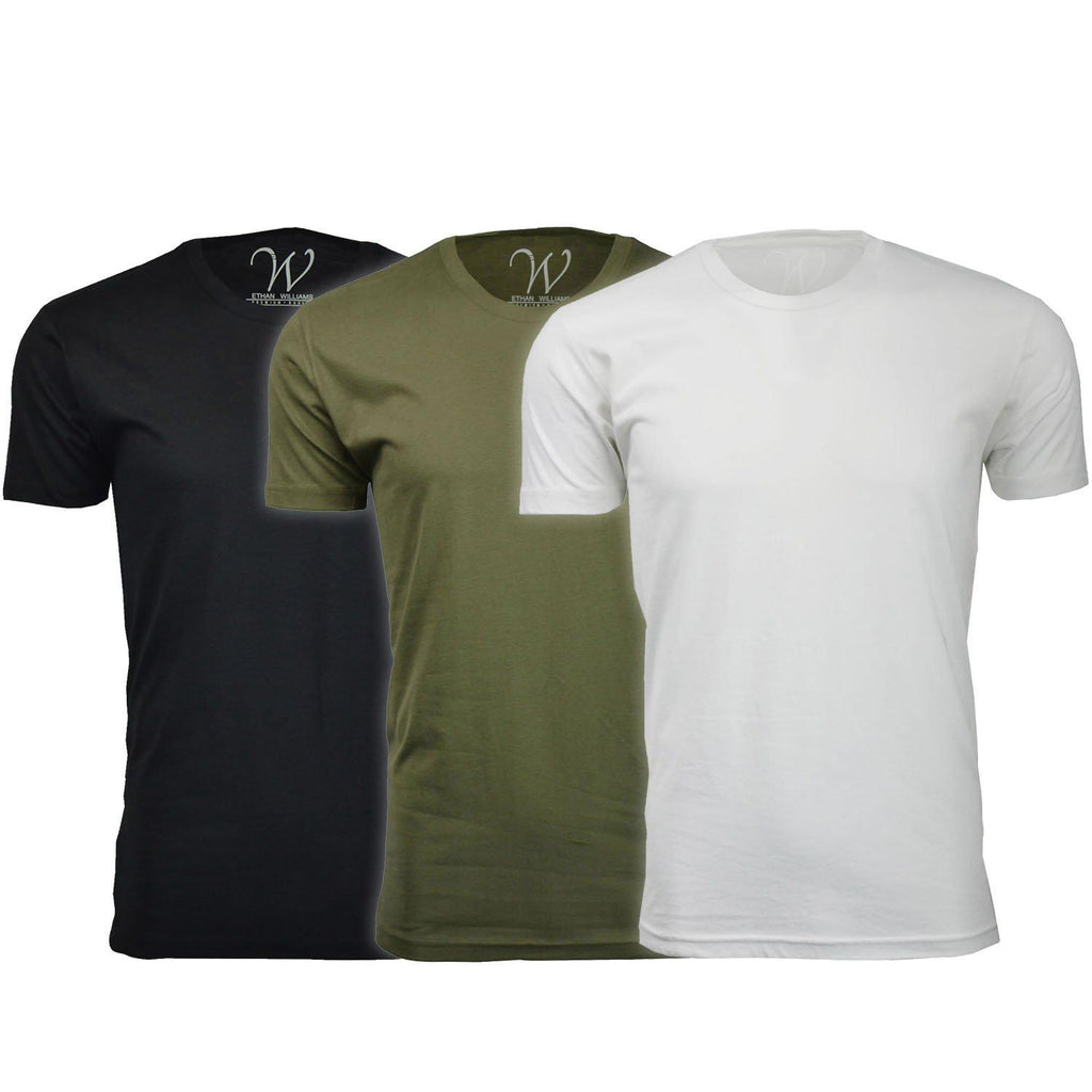 Men's Ethan Williams 3-Pack Sueded Crew Neck T-shirts-Black + Military Green + White-S-Daily Steals