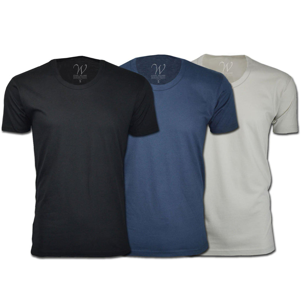 Men's Ethan Williams 3-Pack Sueded Crew Neck T-shirts-Black + Navy + White-S-Daily Steals