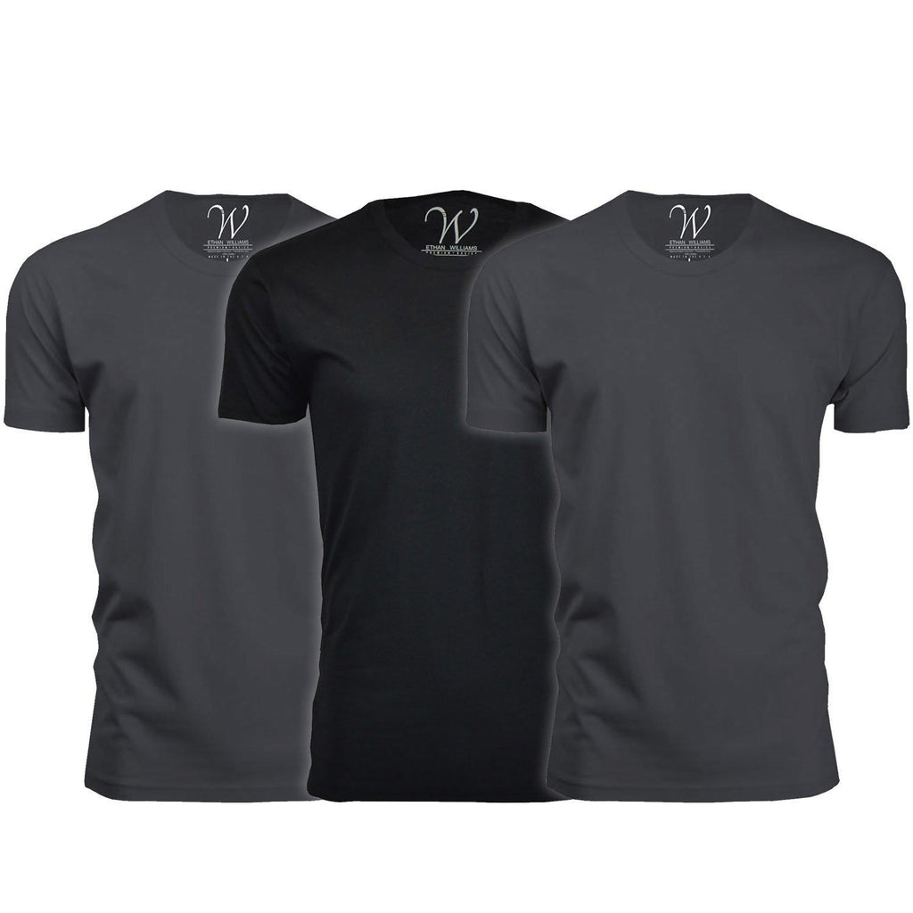 Men's Ethan Williams 3-Pack Sueded Crew Neck T-shirts-Heavy Metal + Heavy Metal + Black-S-Daily Steals