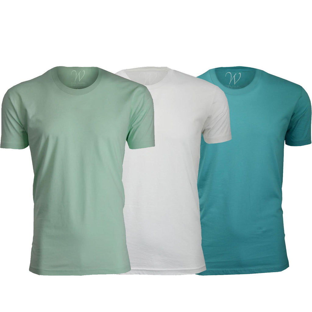 Daily Steals-Men's Ethan Williams 3-Pack Sueded Crew Neck T-shirts-Men's Apparel-Turquoise + White + Mint-XL-