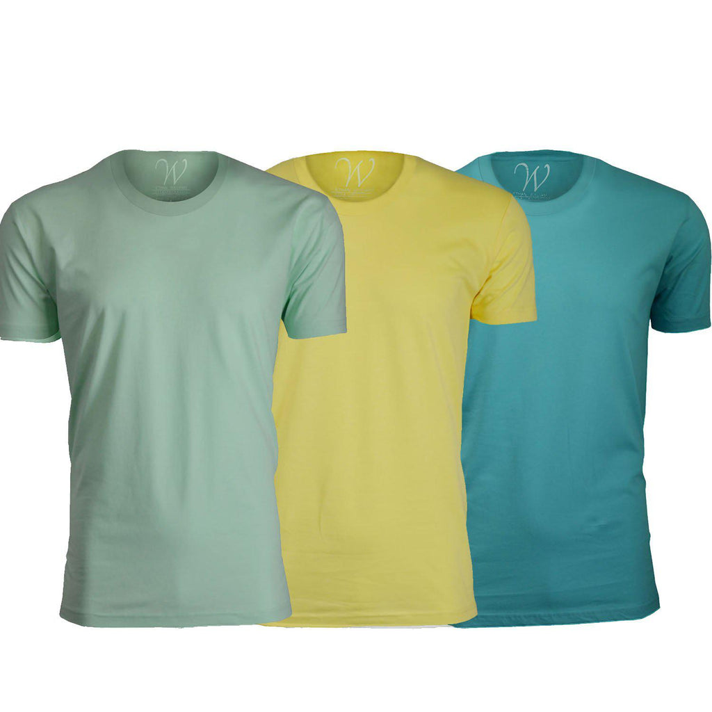Men's Ethan Williams 3-Pack Sueded Crew Neck T-shirts-Turquoise + Yellow + Mint-S-Daily Steals