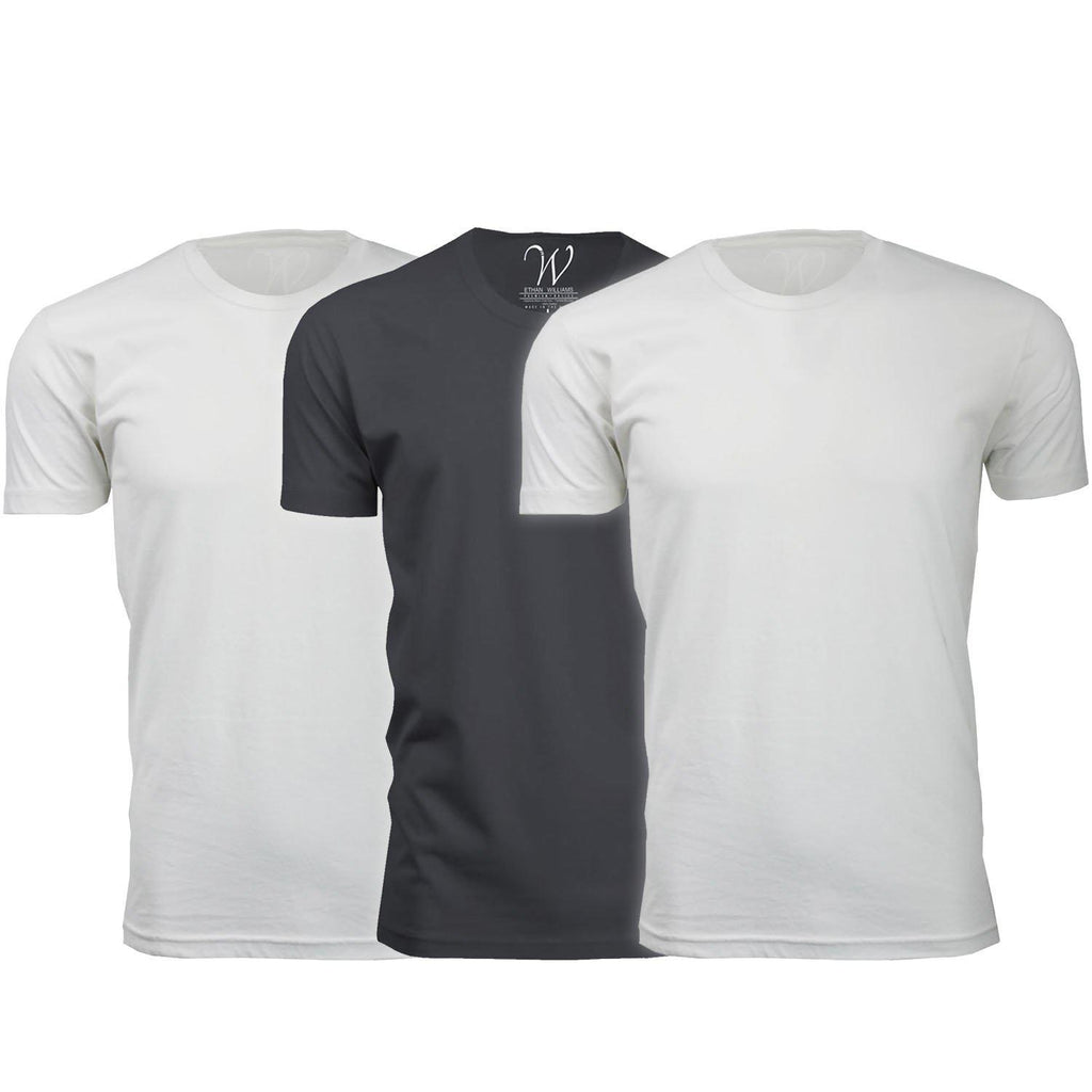 Men's Ethan Williams 3-Pack Sueded Crew Neck T-shirts-White + White + Heavy Metal-S-Daily Steals