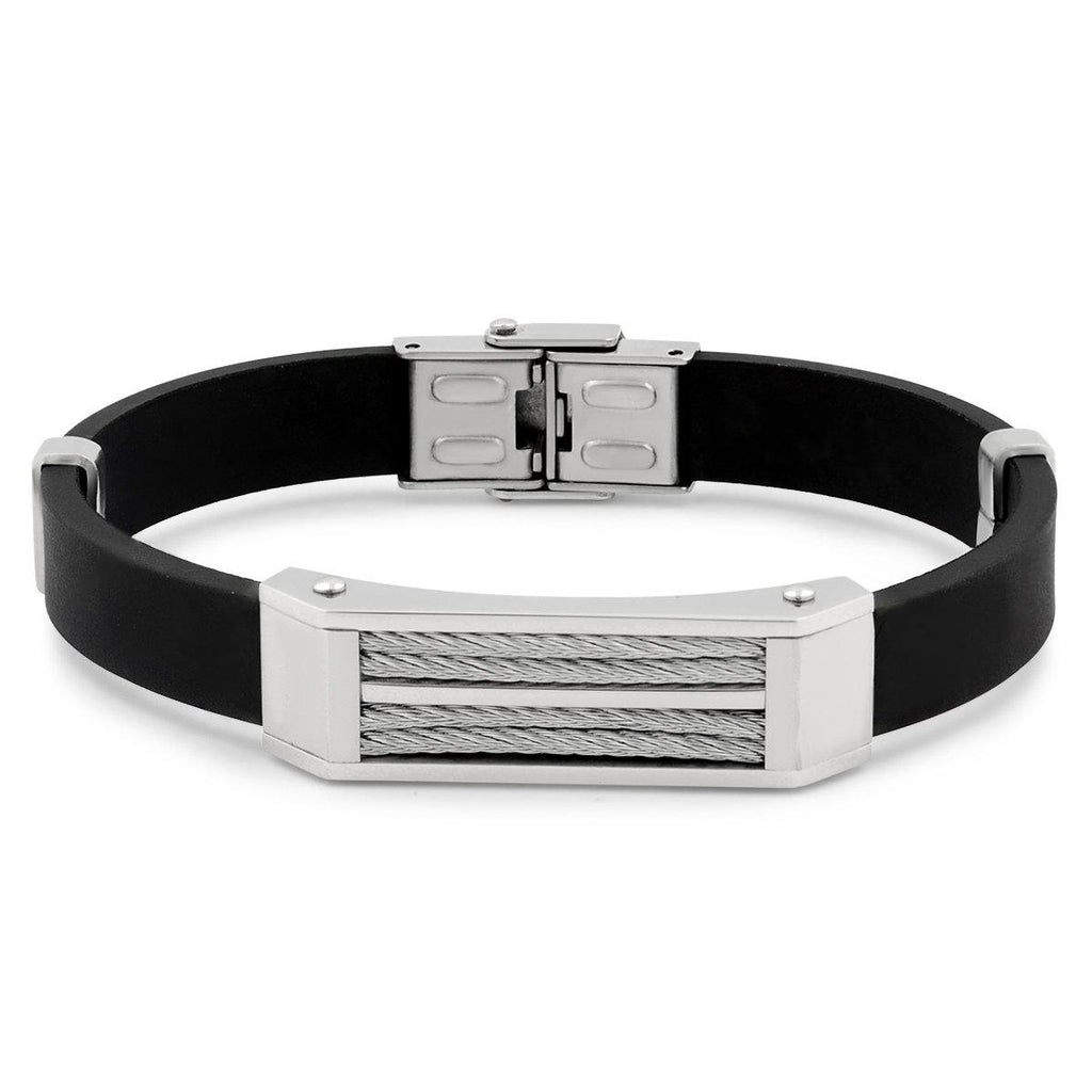 Men's Stainless Steel Wire Bracelet-White-Daily Steals