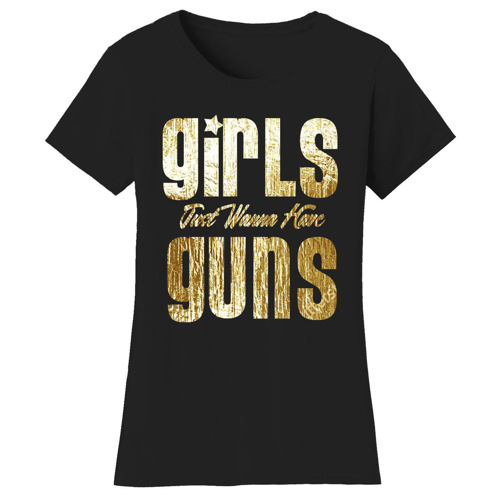 Daily Steals-Women's Gym Workout Humor T-shirts-Women's Apparel-2X-Large-Girls Just Wanna Have Guns - Black/Gold Print-