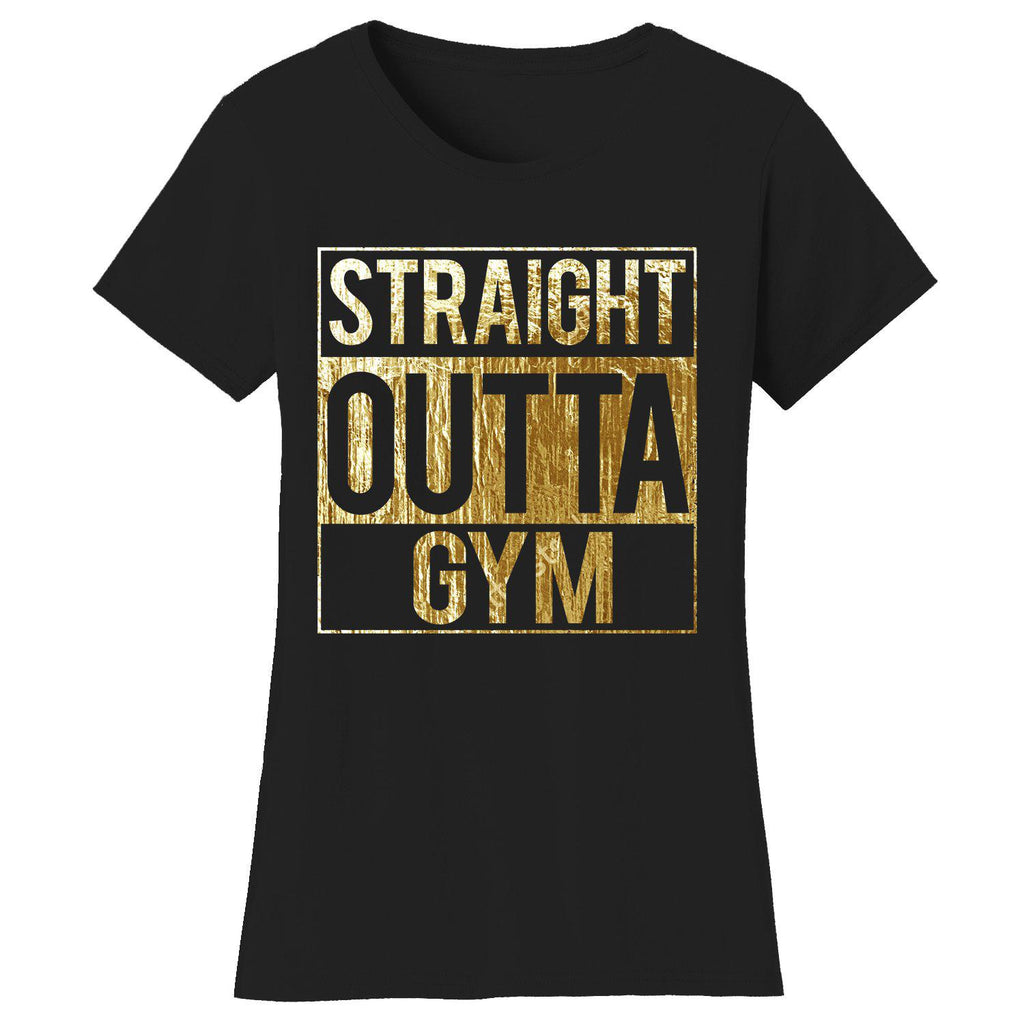 Women's Gym Workout Humor T-shirts-2X-Large-Straight Outta Gym - Black/Gold Print-Daily Steals