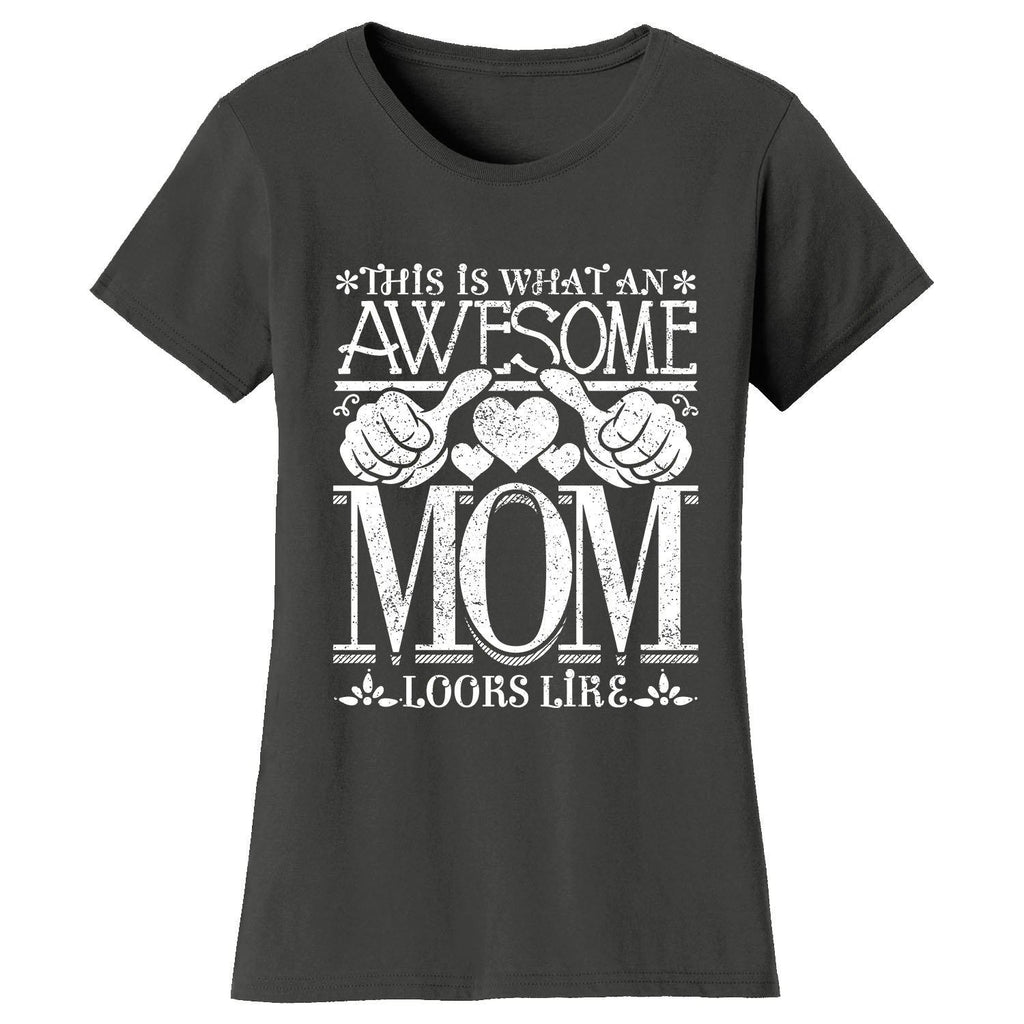 Women's Awesome Mom Grandma Looks Like T-Shirts-Charcoal Gray-MOM-2X-Large-Daily Steals