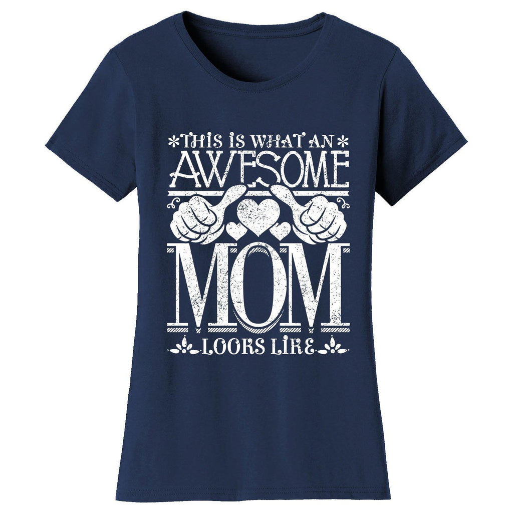 Women's Awesome Mom Grandma Looks Like T-Shirts-Navy Blue-MOM-2X-Large-Daily Steals