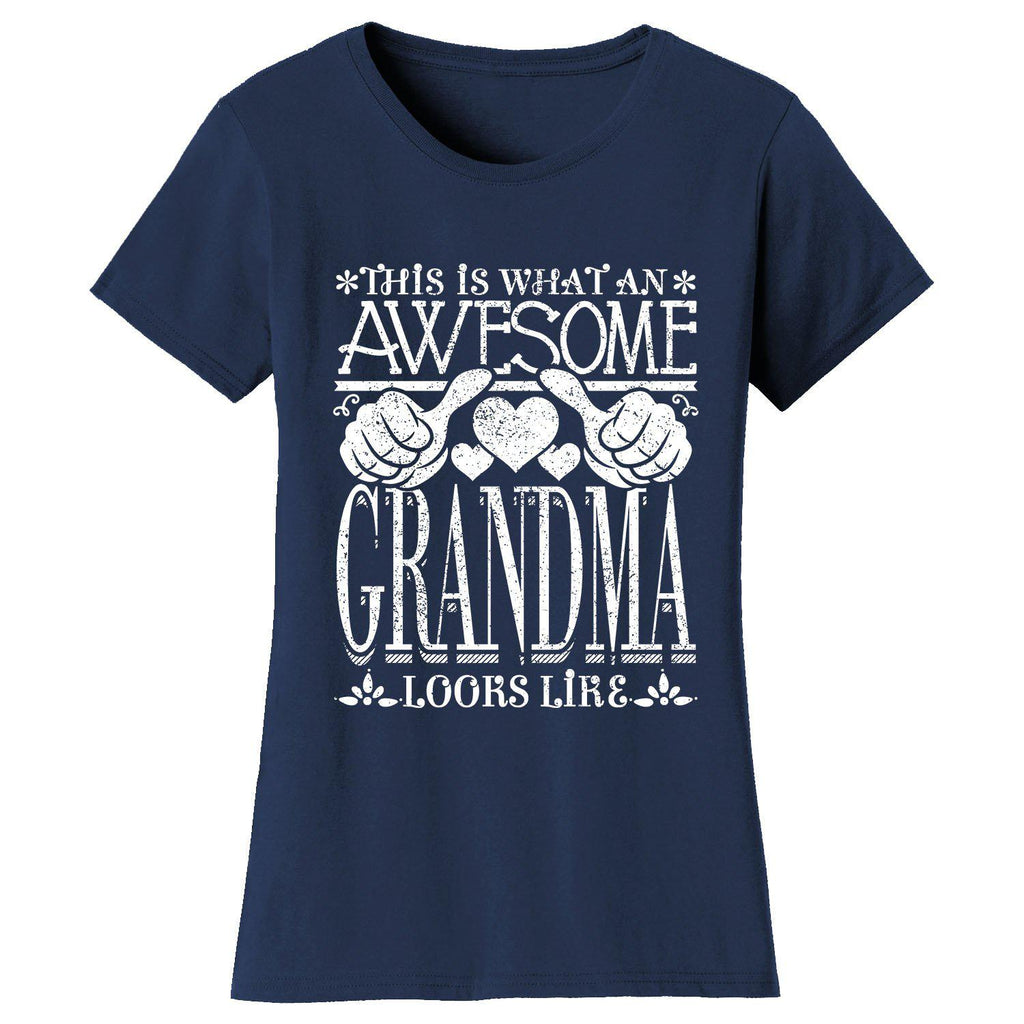 Women's Awesome Mom Grandma Looks Like T-Shirts-Navy Blue-GRANDMA-2X-Large-Daily Steals