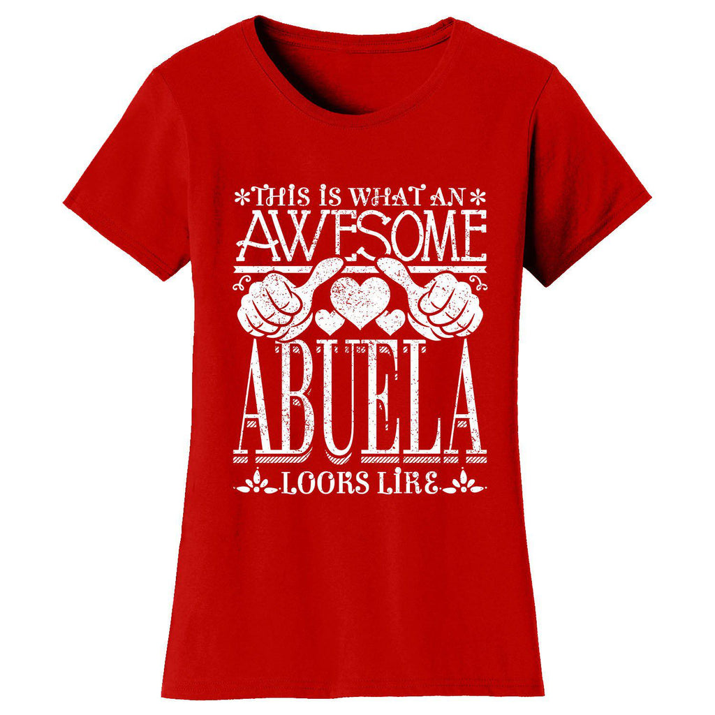 Women's Awesome Mom Grandma Looks Like T-Shirts-Red-ABUELA-2X-Large-Daily Steals