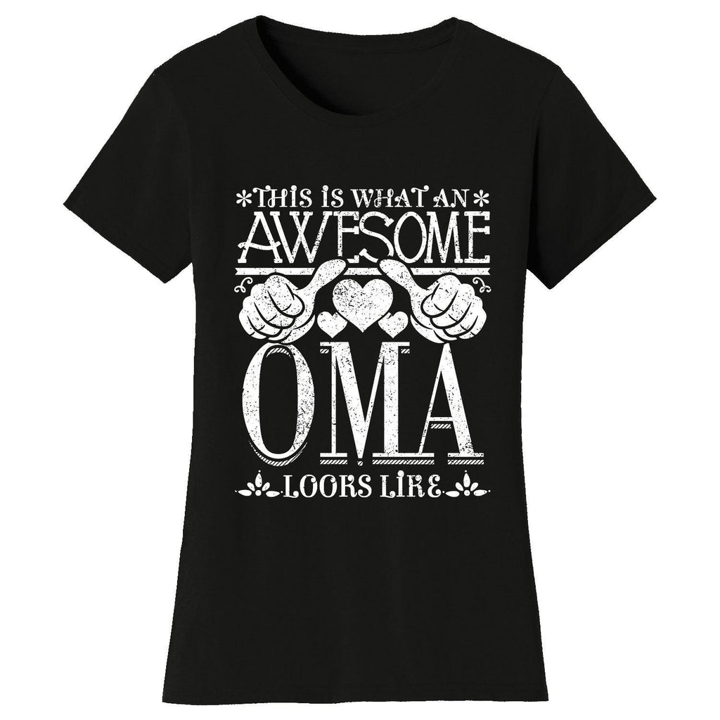 Women's Awesome Mom Grandma Looks Like T-Shirts-Black-OMA-2X-Large-Daily Steals