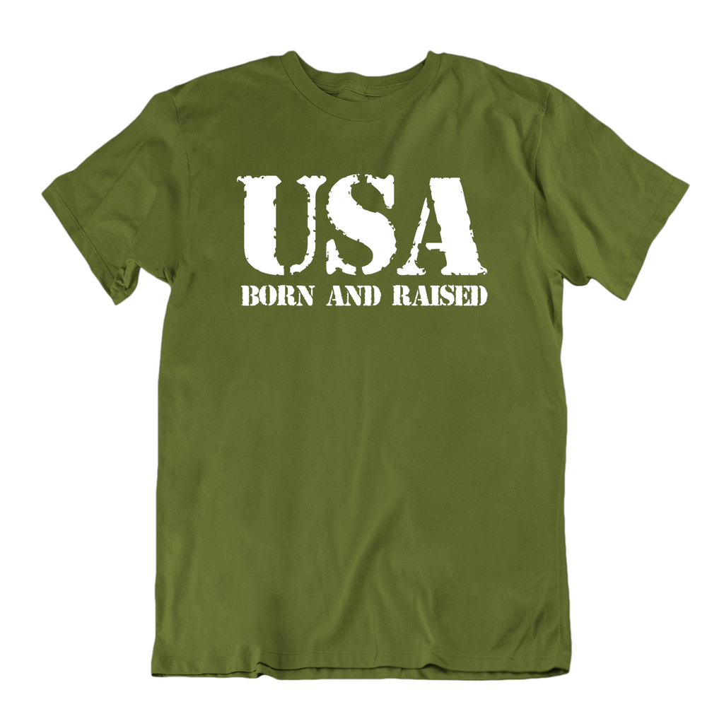 USA Born and Raised T Shirt-Military Green-Small-Daily Steals