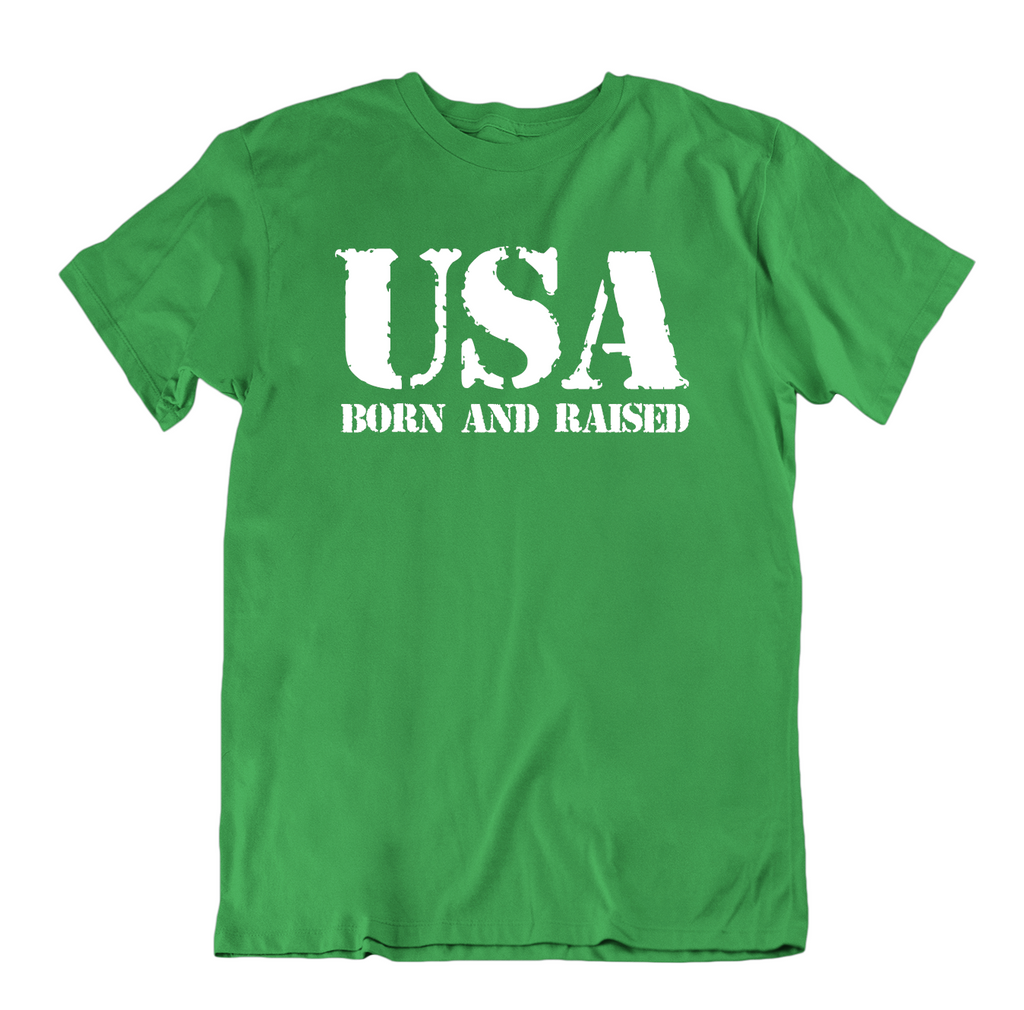 USA Born and Raised T Shirt-Kelly Green-Small-Daily Steals
