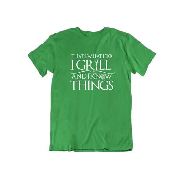 That's What I Do I Grill and I Know Things T Shirt-Kelly Green-Small-Daily Steals