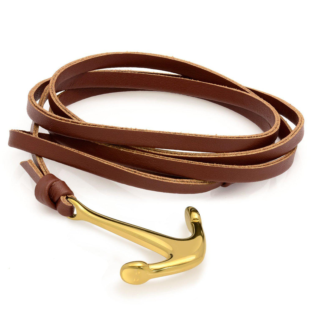 Men's Leather Wrap Anchor Bracelets in Stainless Steel- Black-Brown-Daily Steals