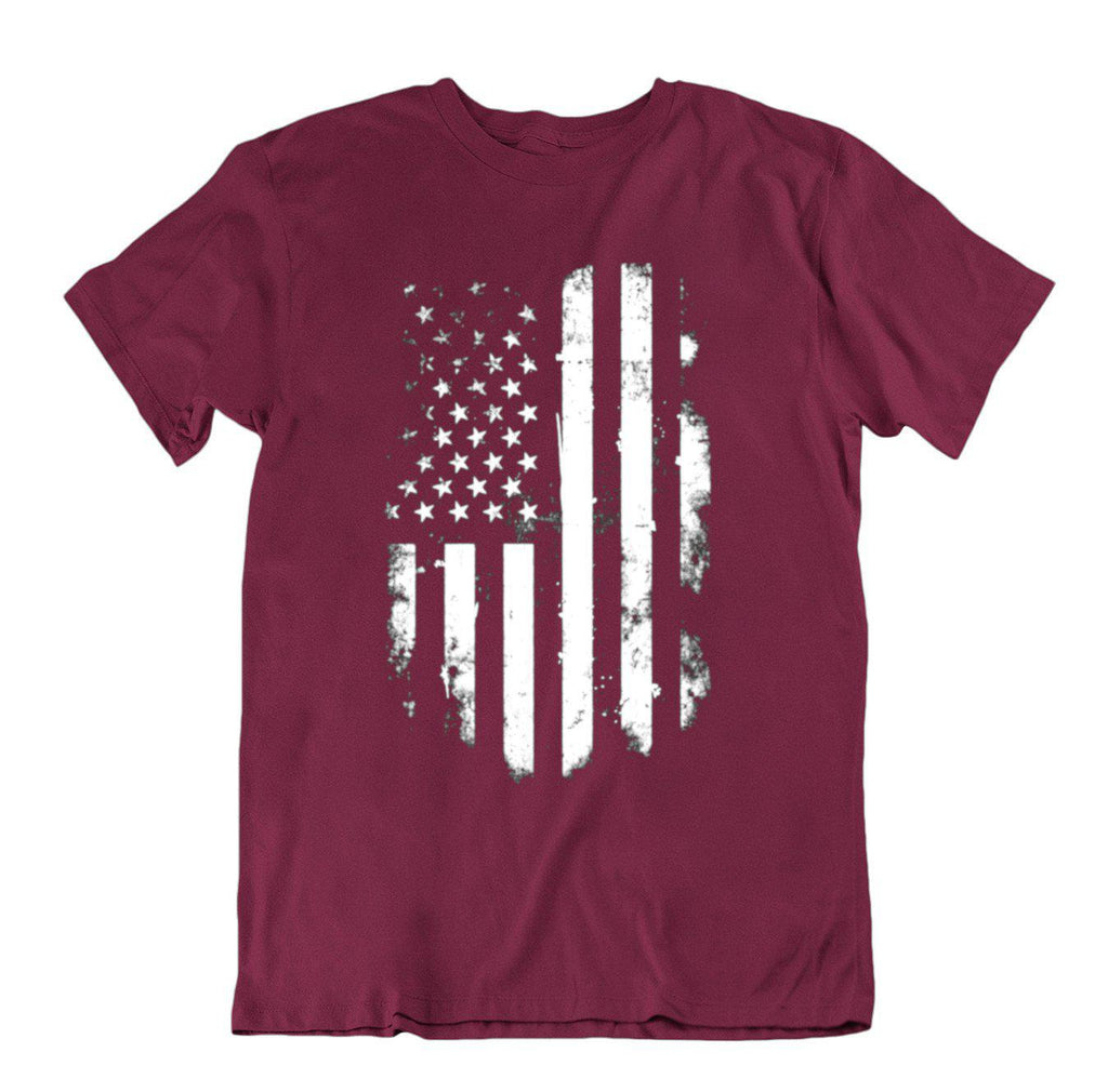 Vintage Distressed USA Flag T Shirt-Maroon-Small-Daily Steals